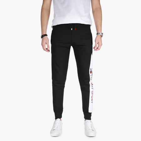 TH Men Black Close bottom Graphic Joggers (TH-1374)