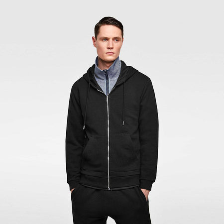 Zr exclusive black 'slim fit' hooded sweatshirt  (ZA-1727)