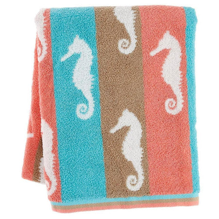 exclusive seahorse jacquard bath towel (28 X 55 Inches) (TO-258)