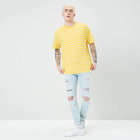 Frevr 21 Mango Stripe Super Soft Tee Shirt (FE-3044)