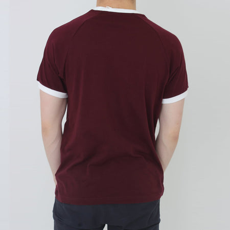 Burgundy Originals 3-STRIPES Logo TEE (AD-605)