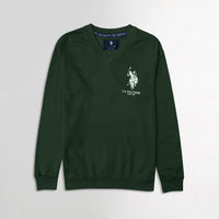 Men Forest Signature Print Fleece Sweatshirt  (US-11068)
