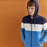 Men Attractive  Block Panel Fleece Zipper Hoodie (SP-11002)