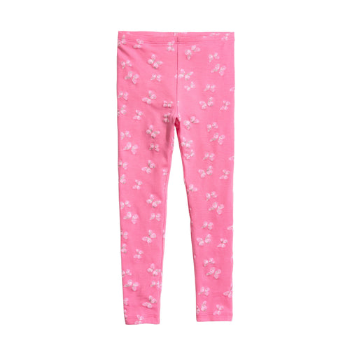 Girls Pink Imported All-Over Butterfly Printed Cotton Jersey Legging (HM-11572)
