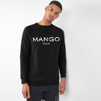 Men Black Signature Graphic Fleece Sweatshirt (MA-10435)