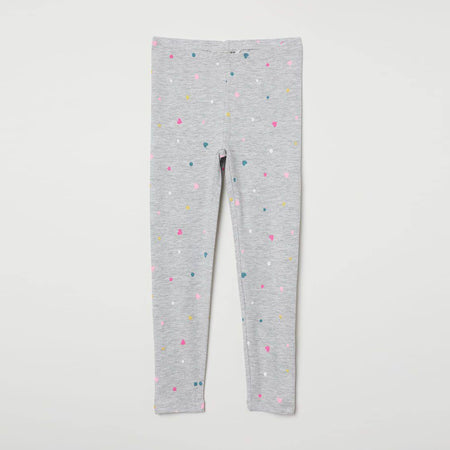 Girls Grey Imported All-Over Heart Printed Cotton Jersey Legging (HM-11569)