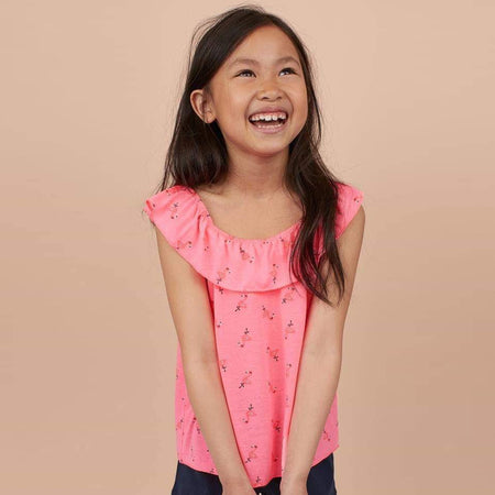 HM Neon Pink Sleeve Less TOP with elasticated Neck line  (HM-886)