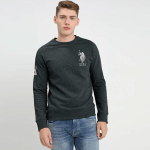 Men Charcoal Embellished Logo Embroidery Fleece Sweatshirt  (US-11131)