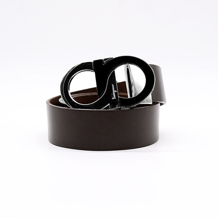Signature Black & Silver Buckle Leather Belt (FE-2103)