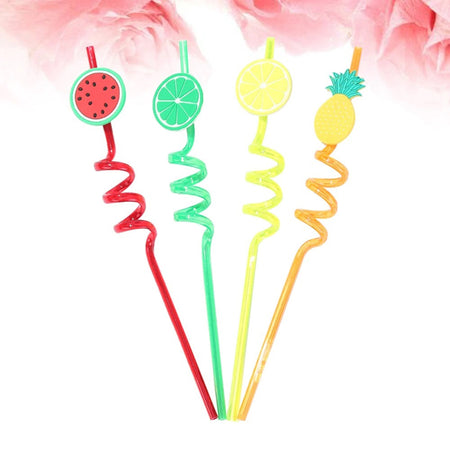 4 pcs Funny Beautiful Decorated Fruits Drinking Straw set (ST-20154)