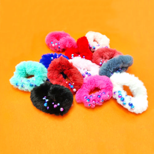 Tonal pearl decorated fluffy Hair bobbles