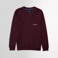 Men Burgundy  Signature Print Fleece Sweatshirt (US-11078)