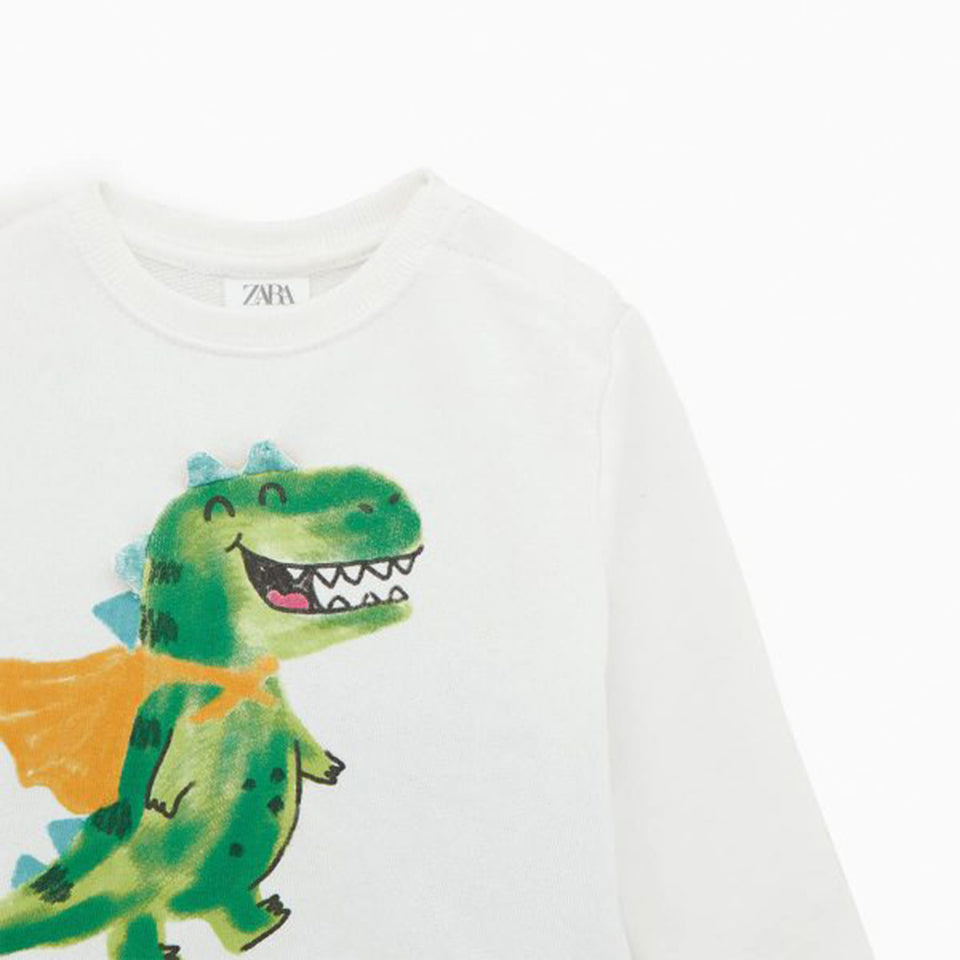 ZR kids Front Dinosaur Decor Print Sweatshirt (ZA-1244)
