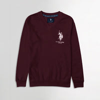 Men Burgundy Signature Print Fleece Sweatshirt  (US-11069)