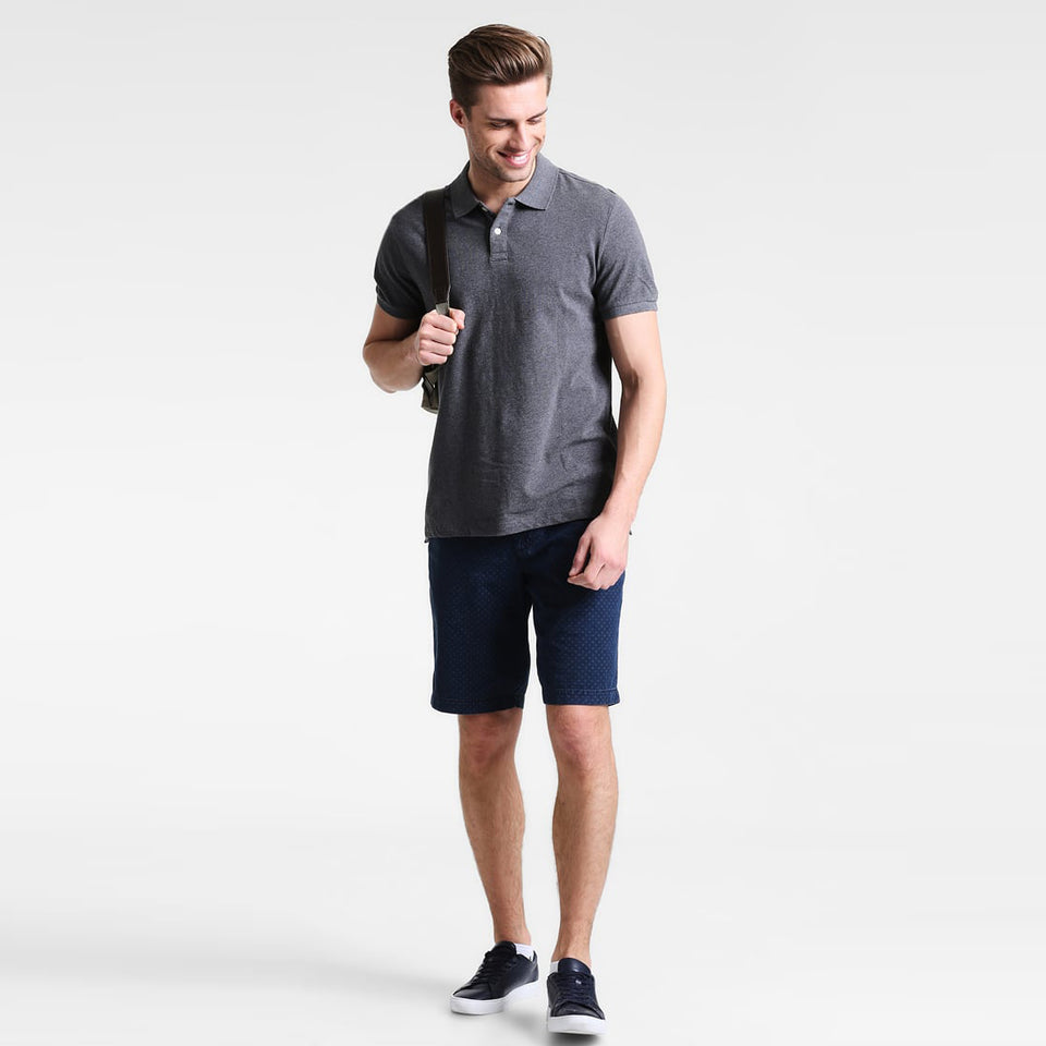 Charcoal Performance Basic Regular Fit Pique Polo Shirt (GA-378)