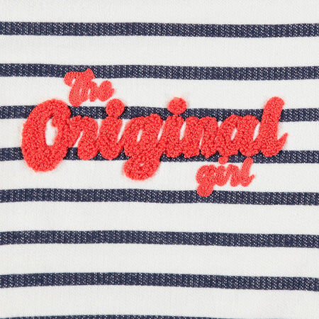 OR girls striped Sweatshirt with Pom Pom Applique (OR-1747)