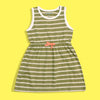 Girls Dyed Yarn Striped Elastic Waist Frock Dress (TS-4236)