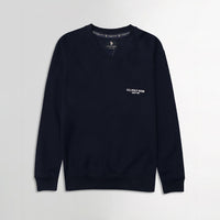 Men Navy Signature Print Fleece Sweatshirt (US-11080)