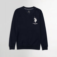 Men Dark Navy Signature Print Fleece Sweatshirt  (US-11073)