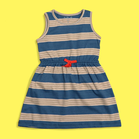 Girls Dyed Yarn Striped Elastic Waist Frock Dress (TS-4237)