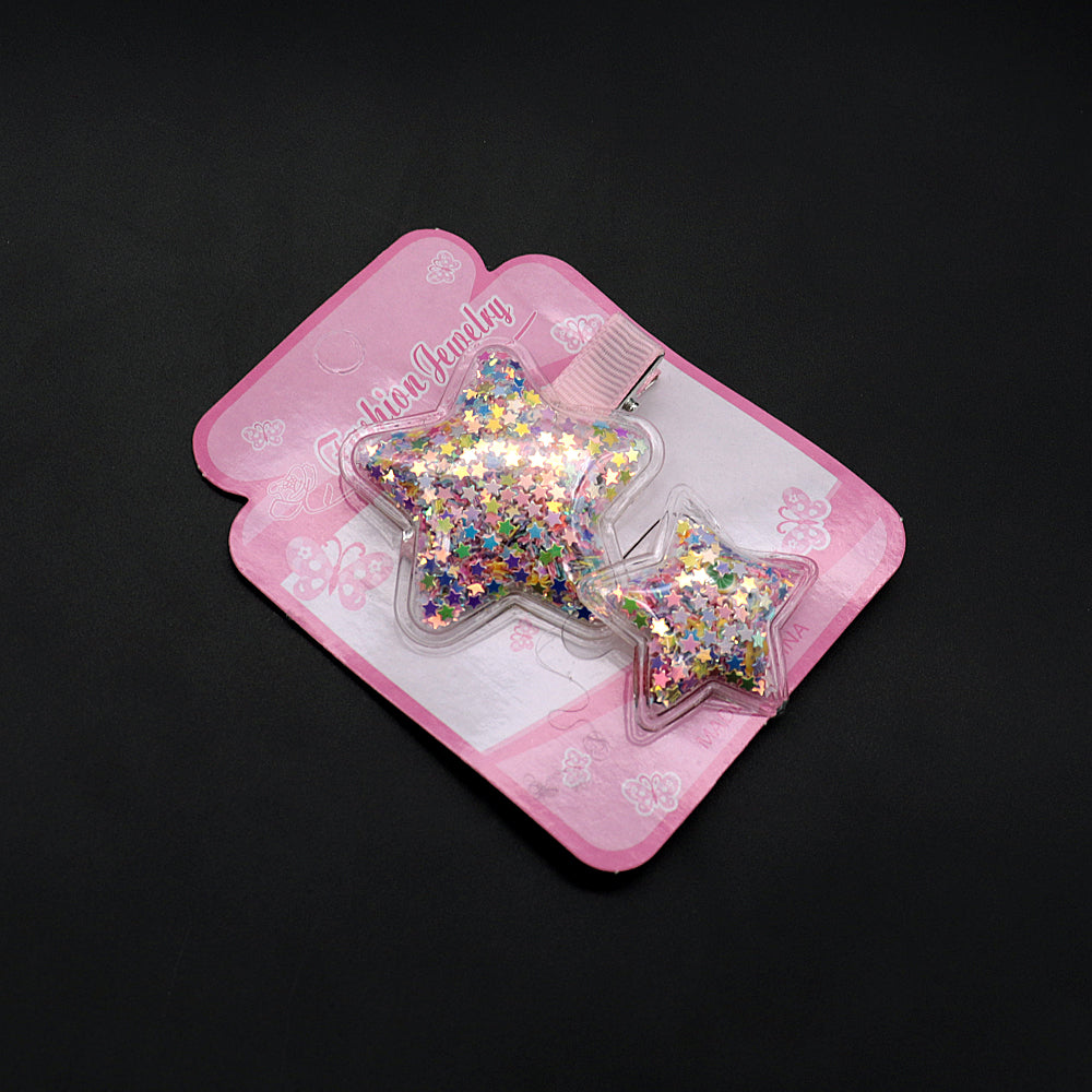 Pack of 2 Star Shaped Sparkle filled Alligator Hair Pin & Bobble Set