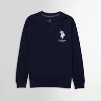 Men Navy Signature Print Fleece Sweatshirt  (US-11071)