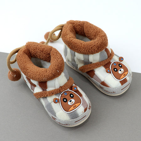 Babies Wool fur lining Checked Shoes  3Months to 18Months (SH-20650)