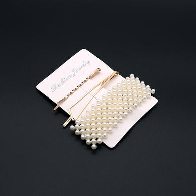 Pearl Decorated Hair clip and Slide pin set