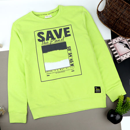 "Older Boys Green Graphic "" SAVE the Planet"" Relaxed Fit Sweatshirt (OS-20525)"