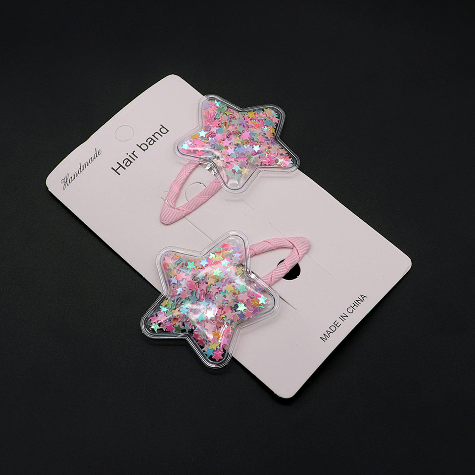 Pack of 2 Star Shaped Sparkle filled Tick Tack Hair Pins