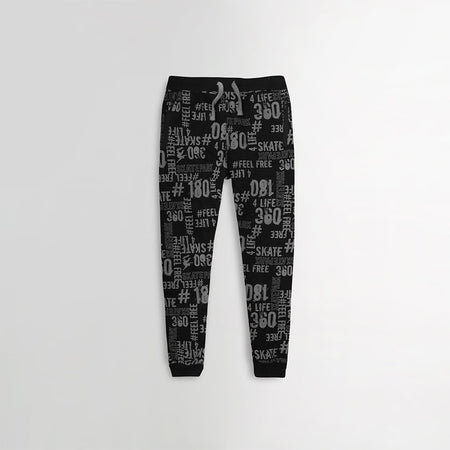 Boys Close Bottom All over Printed Fleece Joggers with Zip Pockets (XM-10215)