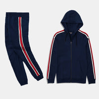 Men exclusive Navy Fleece Striped Tracksuit (MA-10315)
