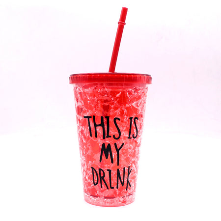 450ml creative summer double plastic Red Durable water cup with cover straw (GL-20120)