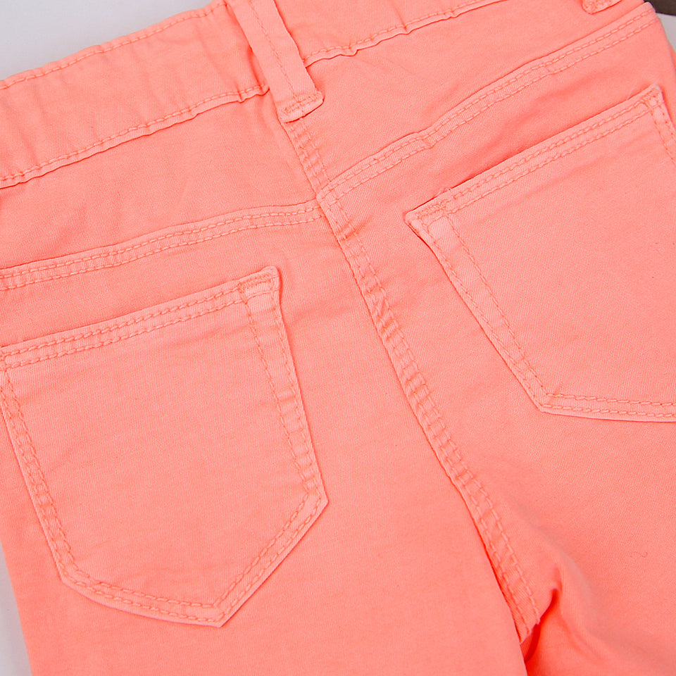 Girls Neon Dyed Slim Fit Stretch Cotton Pants