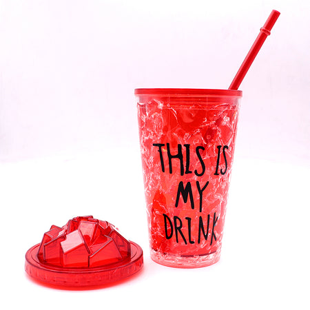 450ml creative summer double plastic Red Durable water cup with cover straw (GL-20107)