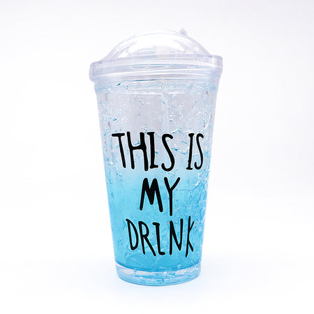 450ml summer double plastic Blue Durable water cup with cover straw (GL-20112)