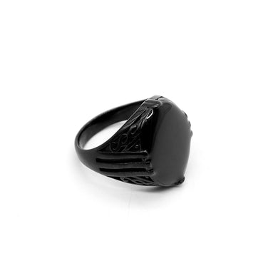 LUXURY BLACK MEDUSA TITANIUM RING (TU-2415)