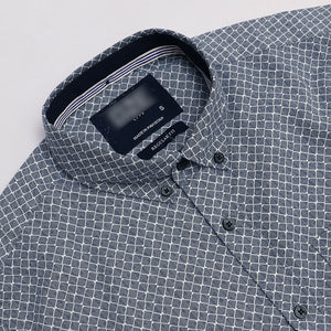 Men Geometric Patterned Long Sleeve Casual Shirt  (ON-1234)