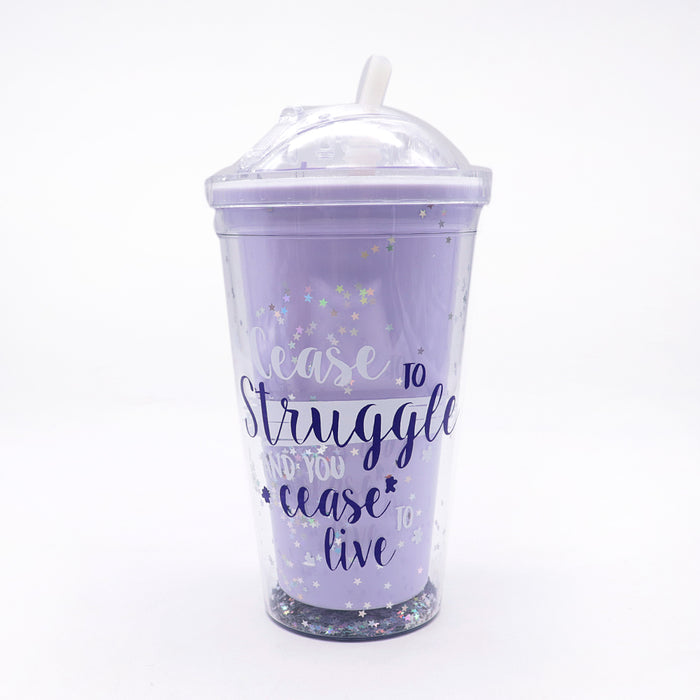 450ml summer double plastic Purple Durable water cup with cover straw (GL-20118)