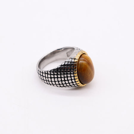 SILVER / GOLD TONE STONE TOP RING (RI-2482)
