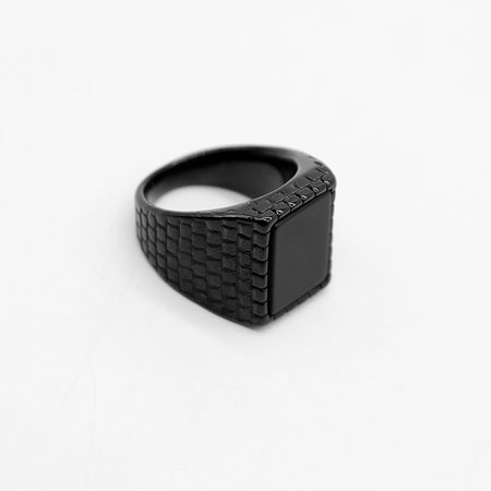BLACK TEXTURED  PLAIN DIAMIR RING (RI-2421)