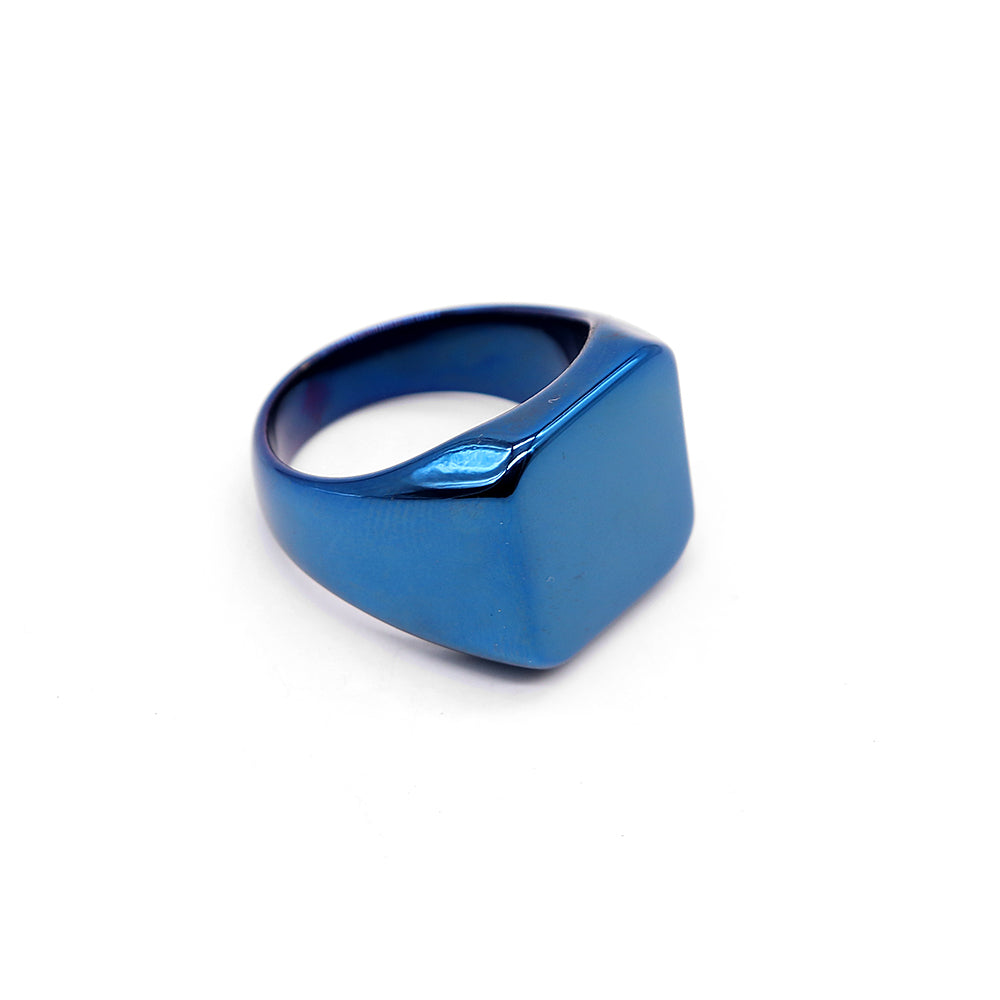 LUXURY BLUE MEDUSA TITANIUM RING (VE-2413)
