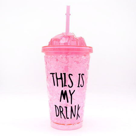 450ml creative summer double plastic Pink Durable water cup with cover straw (GL-20106)
