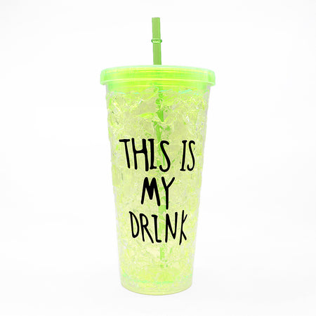550 ML Double Wall Acrylic Insulated Freezer Tumbler with Lid and Straw Water Cup  (GL-20108)