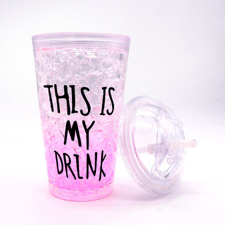 450ml creative summer double plastic Pink Durable water cup with cover straw (GL-20113)