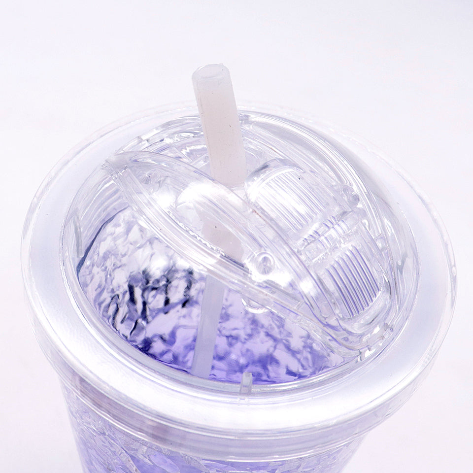 450ml summer double plastic Purple Durable water cup with cover straw  (GL-20115)
