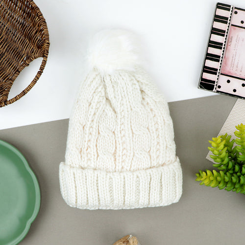 Women Imported Fur lined Acrylic Knitted Beanie Hat