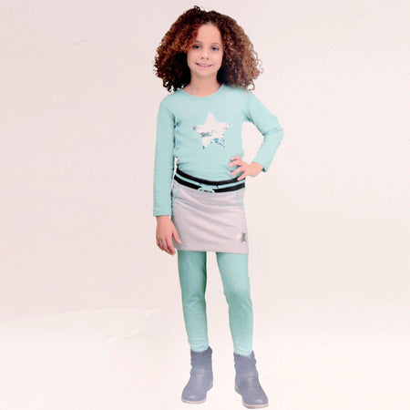 girls grey star printed skirt (RO-242)