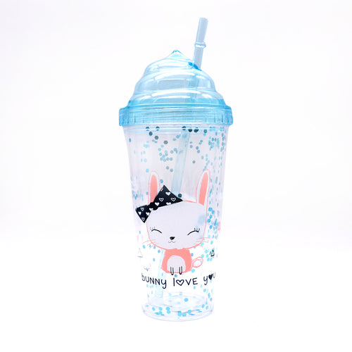 ICE CREAM SHAPED GLITTER CUP WITH STRAW 450ML (BT-20160)
