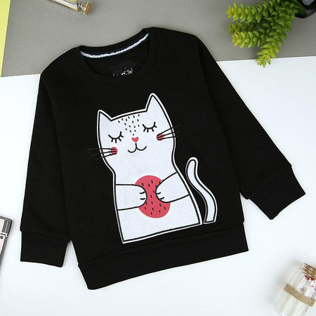 Kids Black Cat Graphic Fleece Sweatshirt (MM-11316)